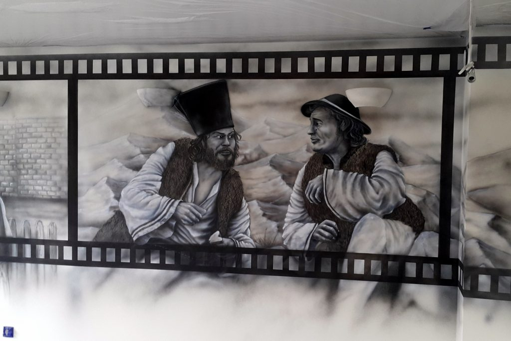 Malowidło ścienne, Mural mono-chromatyczny, malowidło w czarno-bieli, malowanie obrazów na ścianie,