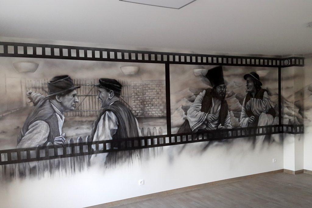 Malowanie obrazów na ścianie, mural mono-chromatyczny 3D
