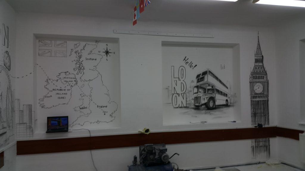Malowanie sali językowej, mural 3D a klasie języka angielskiego