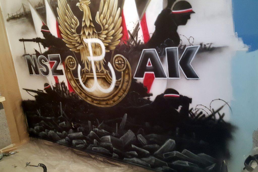 Mural patriotyczny, malowanie murali