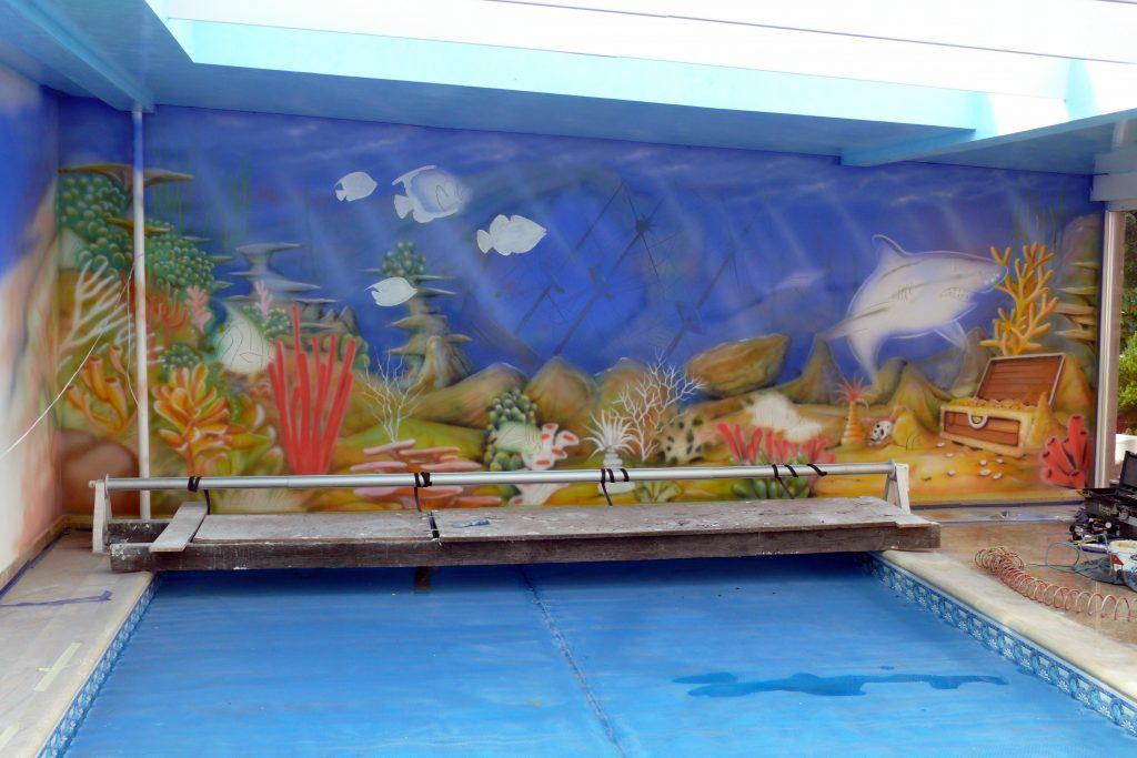 Malowanie na basenie, Aranżacja ściany na basenie, malowidło ścienne na basenie , mural 3D