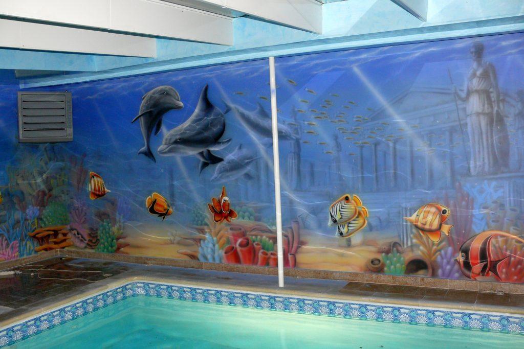 Malowanie na basenie, Aranżacja ściany na basenie, malowidło ścienne na basenie , malowidło ścienne na basenie