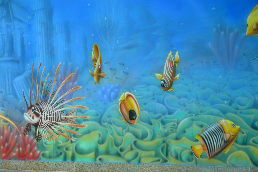 Malowanie na basenie, malowidło ścienne na basenie bydgoszcz