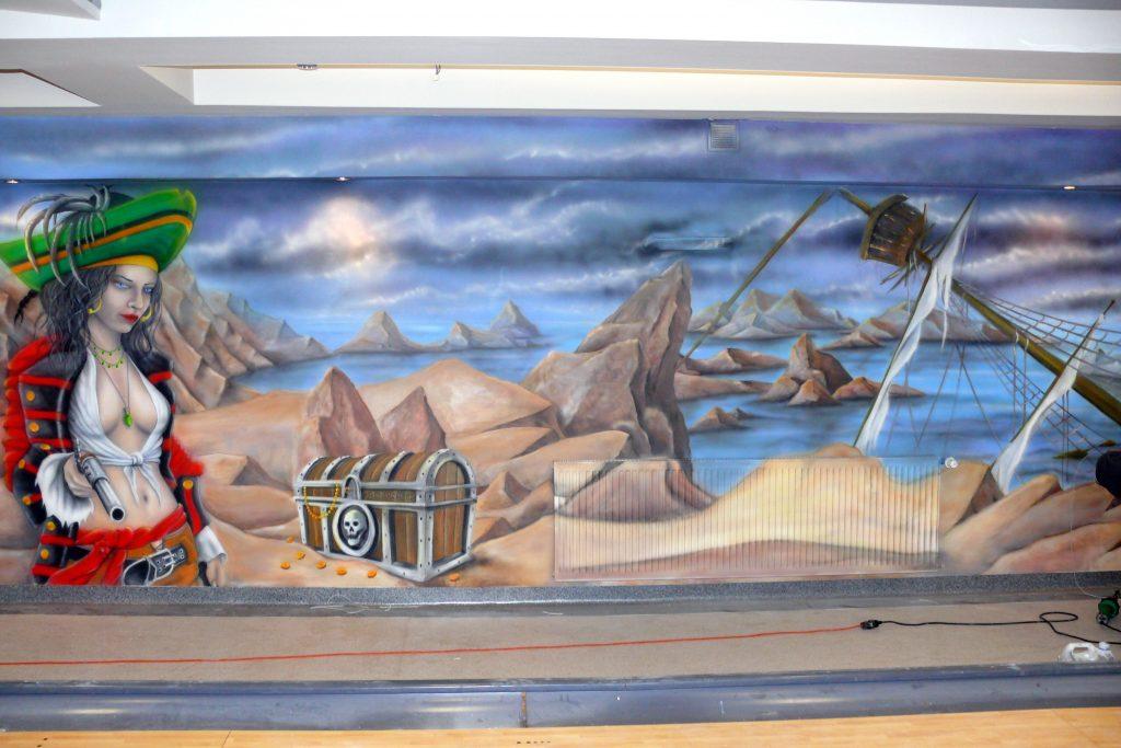 Malowanie kręgielni, artystyczne malowanie ścian 3D, graffiti ścienne