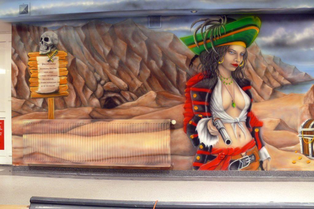 Malowanie kręgielni, artystyczne malowanie ścian 3D
