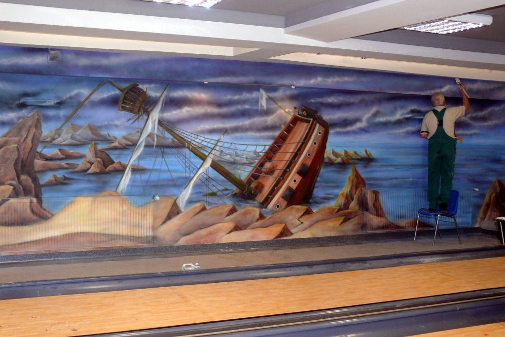 Malowanie kręgielni, artystyczne malowanie scian