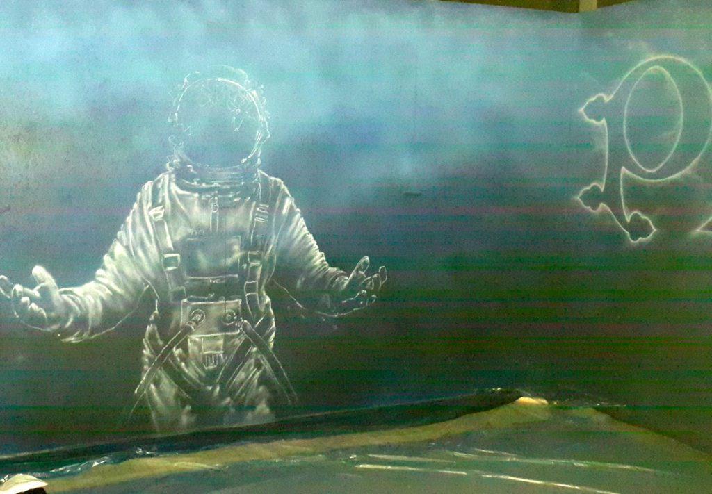 Pyrkon Festiwal Fantastyki, malowanie astronauty, mural na pyrkonie