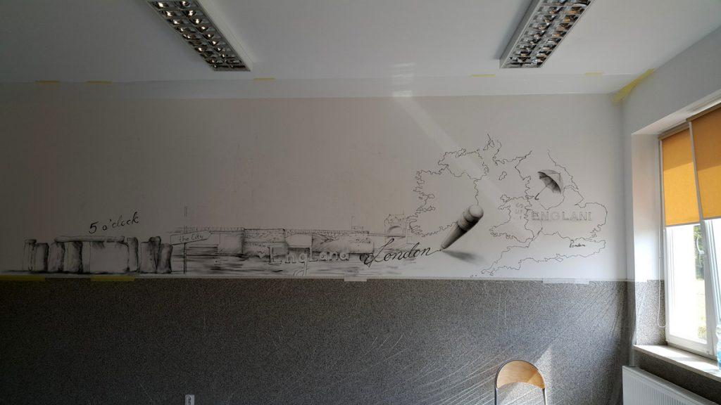Aranżacja sali lekcyjnej, malowanie obrazu na ścianie w klasie językowej, ciekawy sposób na zaaranżowanie sali lekcyjnej