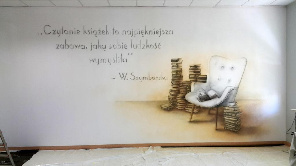Mural w sali polonistycznej, sala polonistyczna wystrój poprzez malowanie klasy