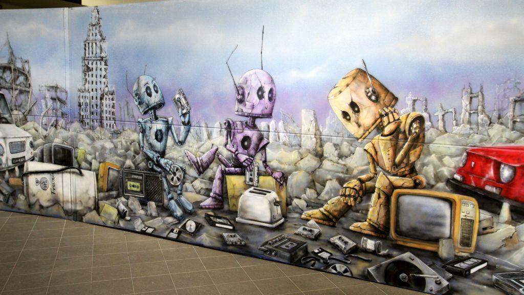 Mural na comic Con, malowanie scenografii na festiwal fantastyki