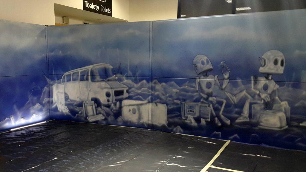 Mural na festiwalu fantastyki Comic Con, malowanie na żywo