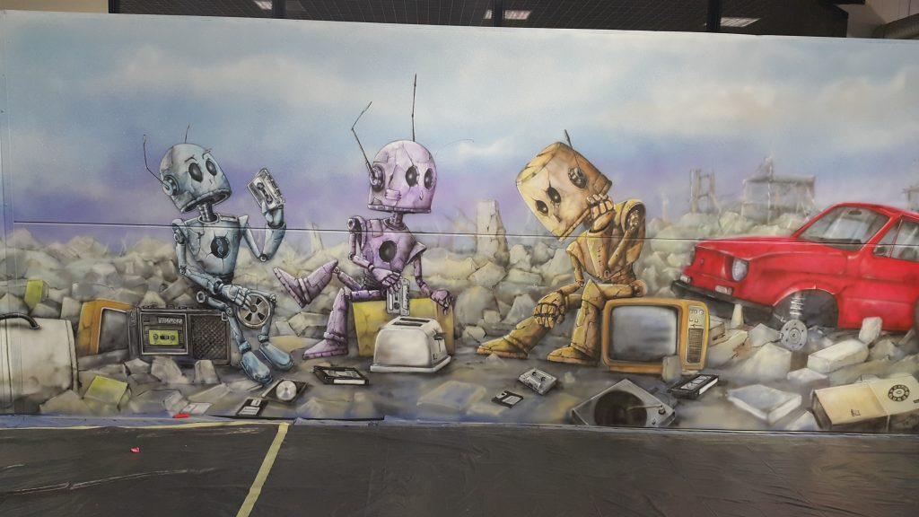 Obraz namalowany na invwncie fantastyki Comic Con, Mural o tematyce post apo