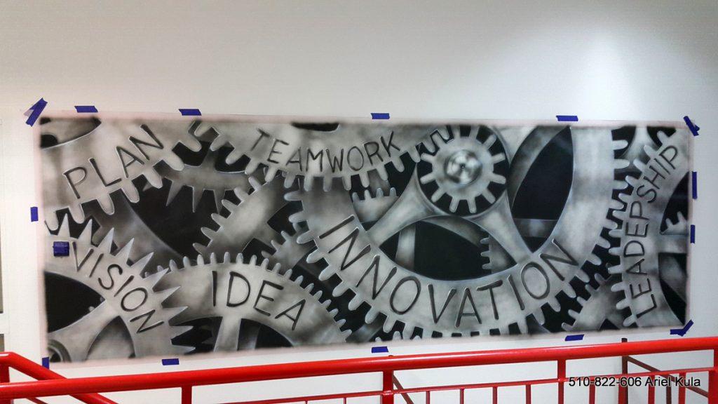 Mural w biurze, industrialny styl w biurze, malowanie trybów na ścianie