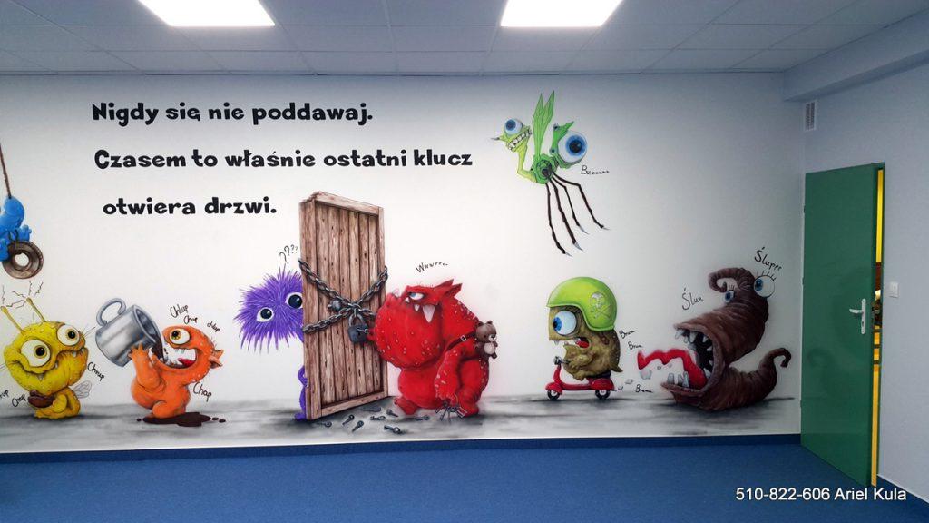 Chillout room, mural w sali relaksacyjnej klasy szkolnej, strefa relaksu dla dzieci