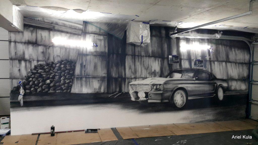 Malowanie samochodu na ścianie, mustang GT 500 mural 3D