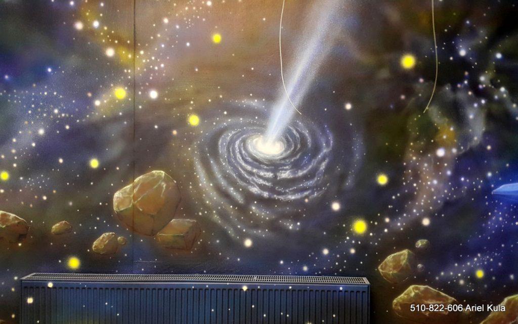 Malowanie kosmosu farbami UV, mural w ultrafiolecie, malowanie gwiazd, kwazarów i galaktyk