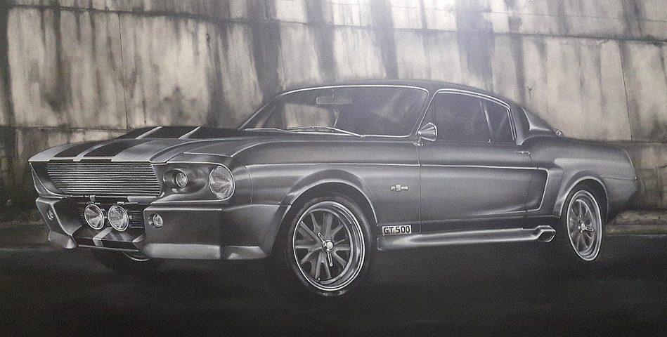 Malowanie samochodu, graffiti 3d, malowanie mustanga GT - 500