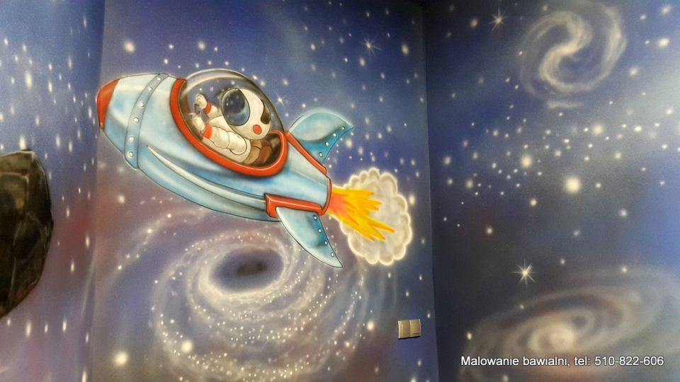 Malowanie kosmosu w sali zabaw dla dzieci, graffiti w sali urodzinowej