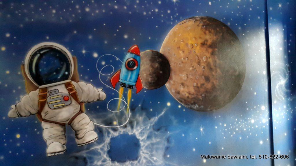Salka urodzinowa, malowanie bawialni w motyw kosmosu, kosmiczny wystrój bawialni