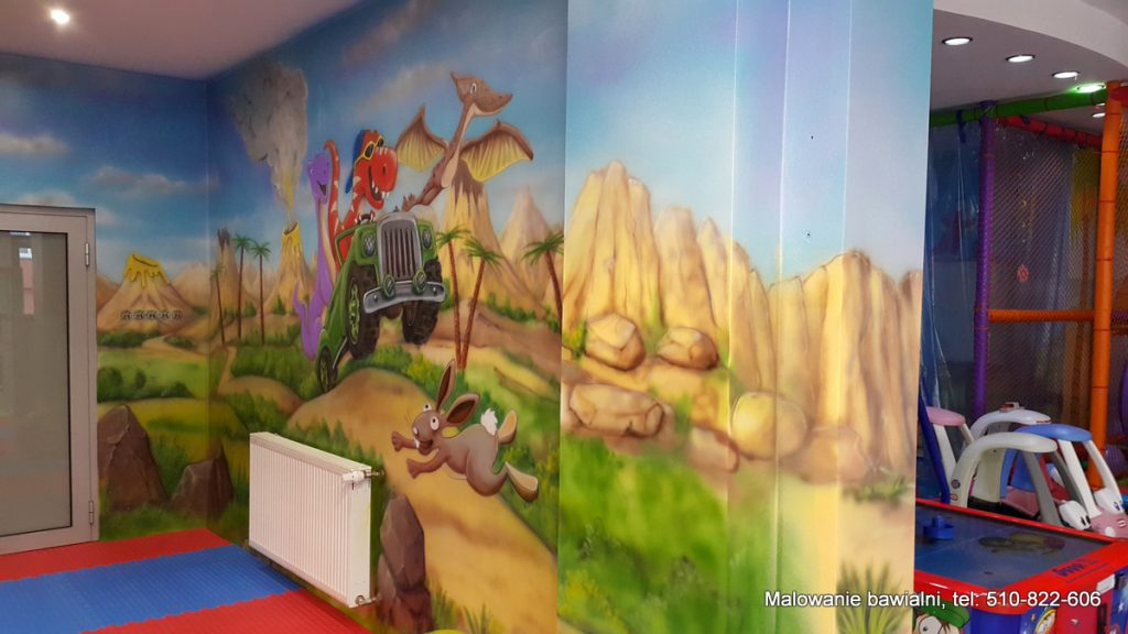 Malowanie sali zabaw dla dzieci, draffiti w bawialni