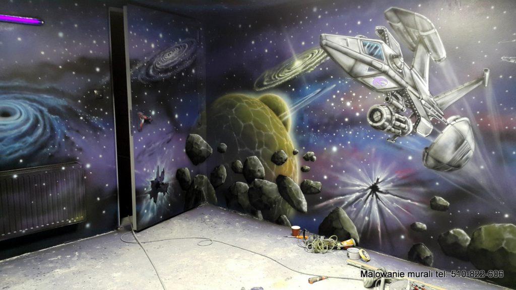 Kosmos, planety, malowanie kosmosu na ścianie,