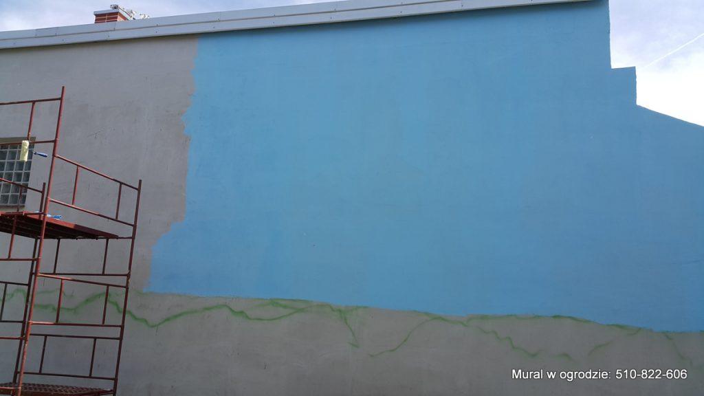 Mural w ogrodzie, malowanie dżungli na ścianie