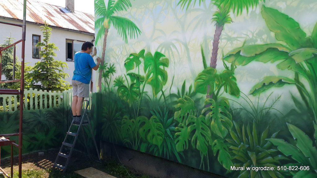 aranżacja ściany w ogrodzie , Malowanie lasu tropikalnego