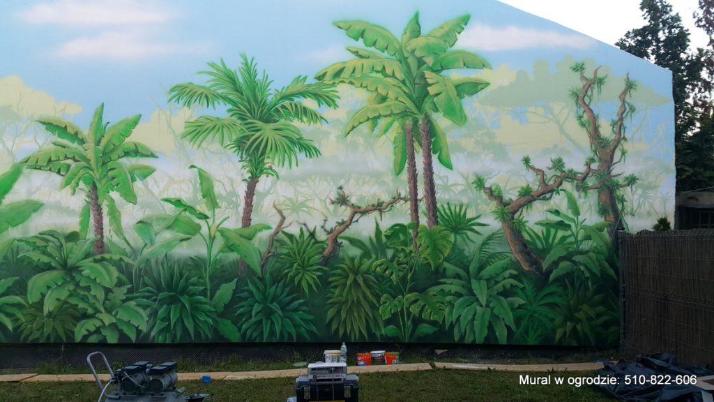 aranżacja ściany w ogrodzie , Malowanie ściany w ogrodzie, mural 3D malowanie lasu tropikalnego