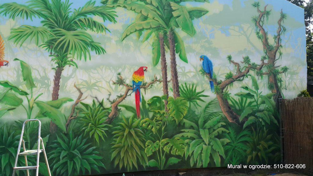 Malowanie ściany w ogrodzie, las tropikalny obraz na murze jako tło pod roślinność