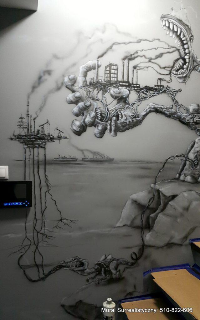 Czarno-biały mural namalowany na klatce schodowej, surrealistyczna wizja zmieniającego się świata