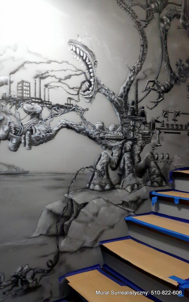 Czarnobiały mural na klatce schodowej, Toruń, artystyczne malowanie ścian 3D, czarno białe obrazy