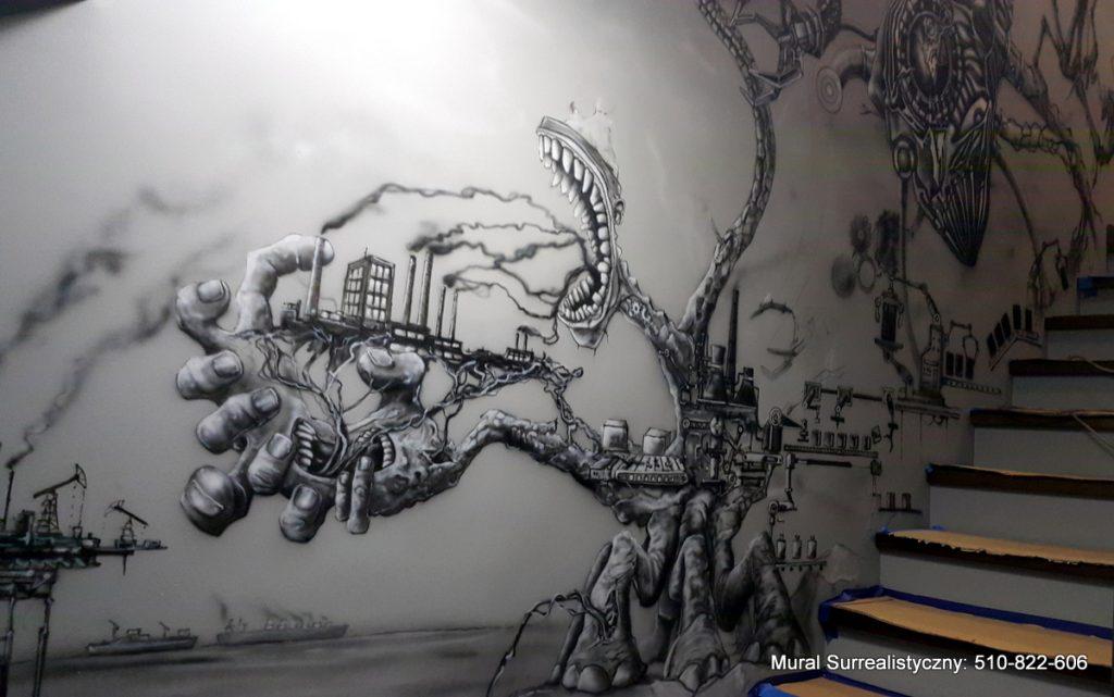 Obraz w czarno bieli, surrealistyczny mural namalowany na ścianie klatki schodowej