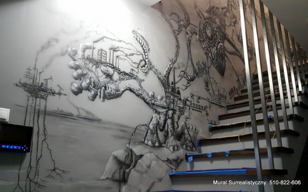 Surrealistyczny mural namalowany na klatce schodowej, mural 3D