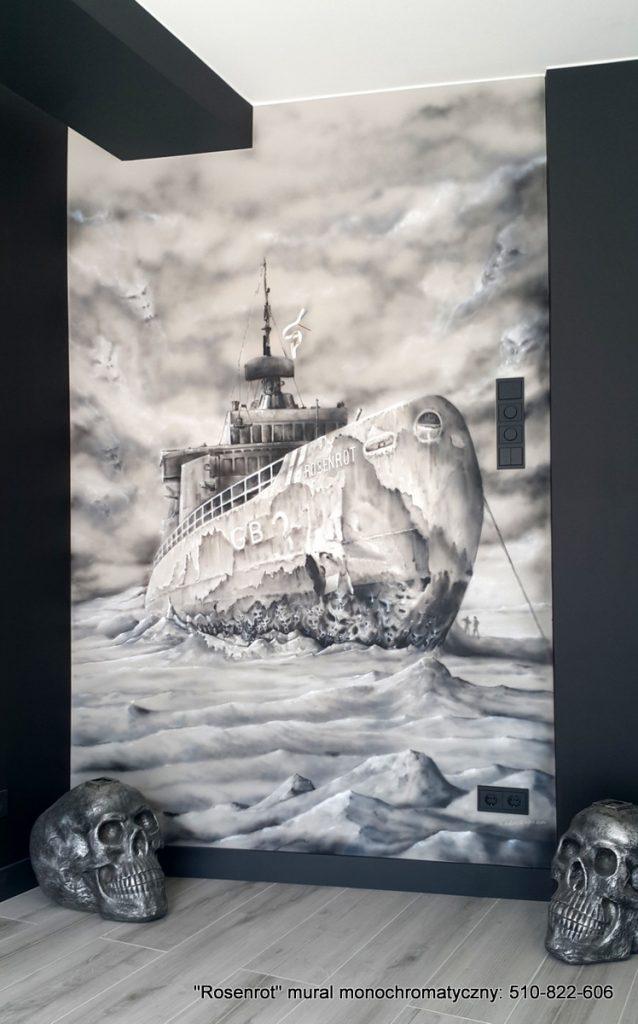 Mural w lofcie metal chause,, czarno biały mural w pokoju relaksacyjnym