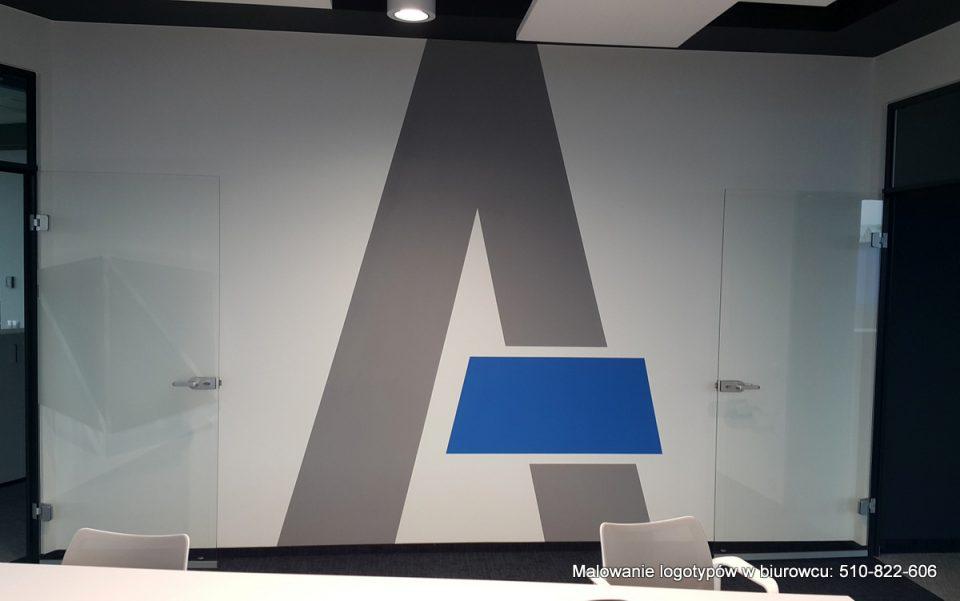 malowanie oznaczeń w biurowcach, litery ręcznie malowane