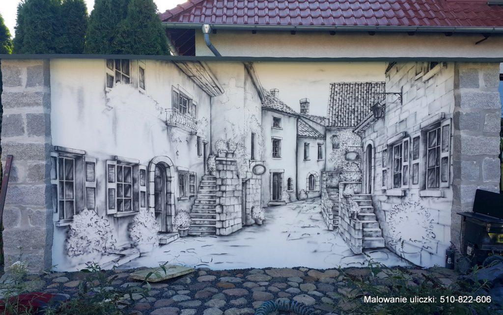 Malowanie uliczki w perspektywie, malowidło ścienne namalowane na ścianie