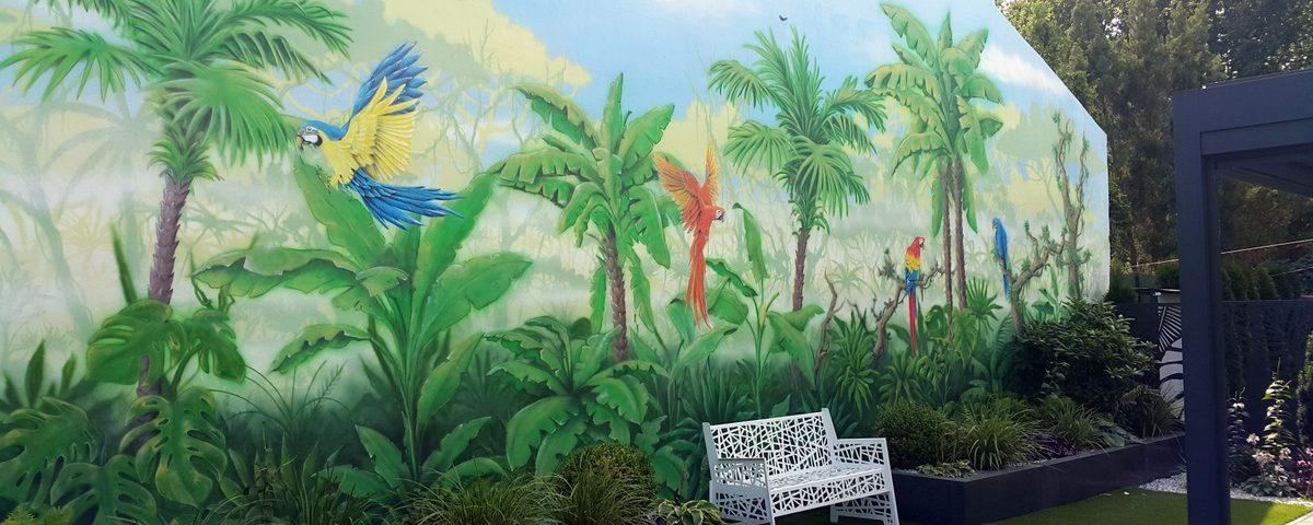 Malowidło ścienne w ogrodzie, malowanie lasu ytopikalnego