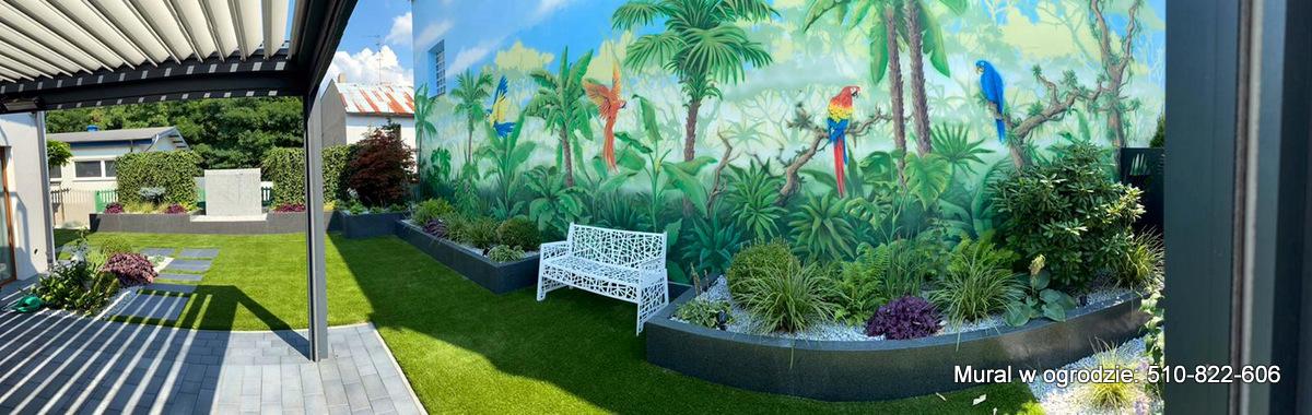 Mural w ogrodzie, malowanie obrazu na scianie jako wystrój ogrodu