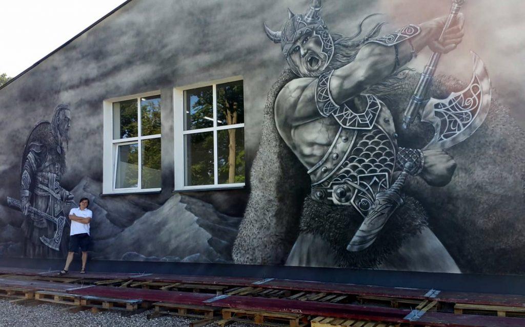 Malowanie wikingów na ścianie, mural 3D