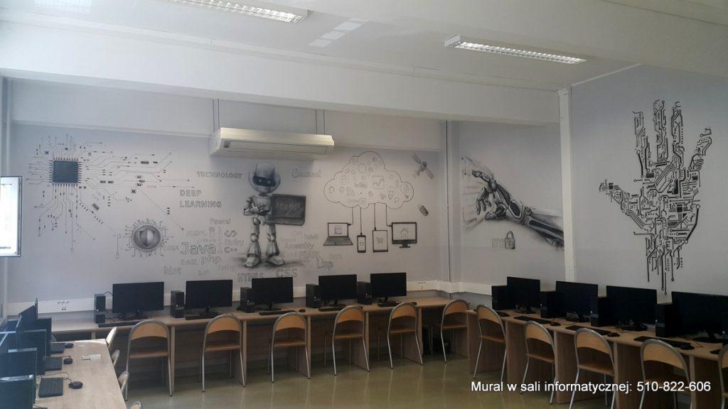 malowanie sali informatycznej, mural 3d
