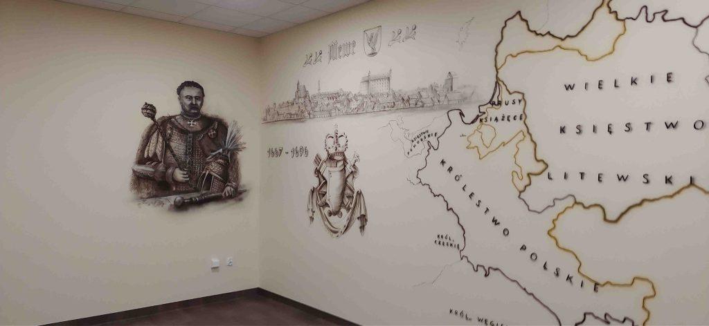 Malowanie klasy historycznej, czarno biały mural 3D
