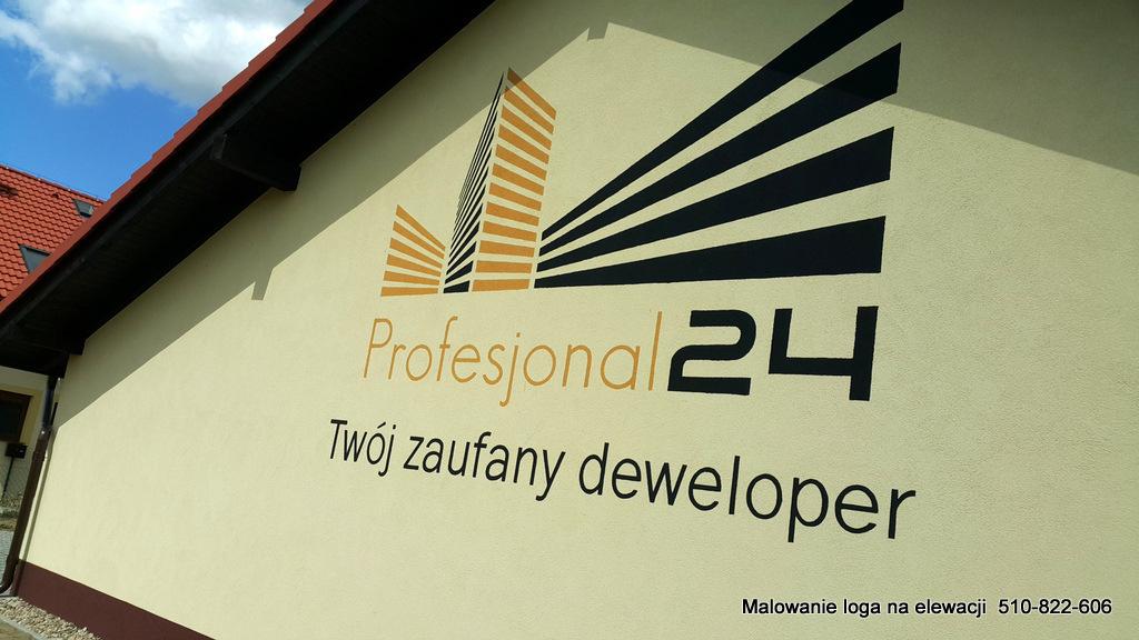 Logo zewnętrzne na elewacji, malowanie napisów na elewacji
