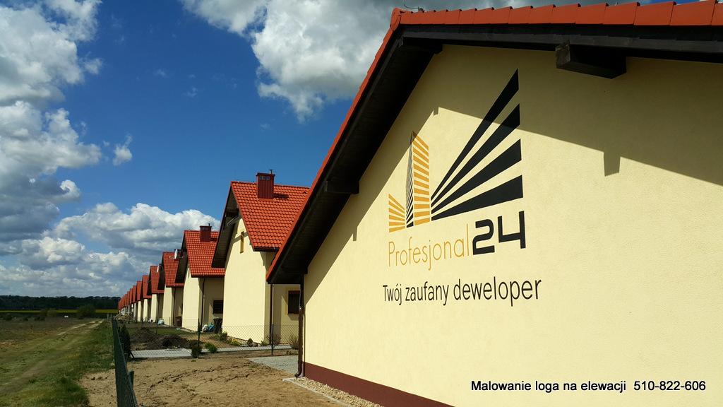 Logo zenetrzne, malowanie reklamy na elewacji budynku