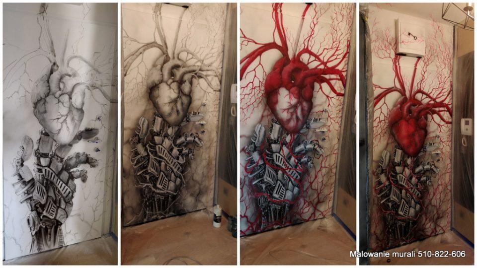 Mural biomechanika, malowanie obrazu związanego z biomechanika i transhumanizmen