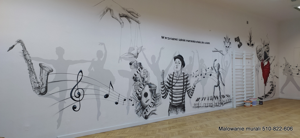 Mural na sali gimnastycznej, Nowe Miasto, artystyczne malowanie ścian 3D