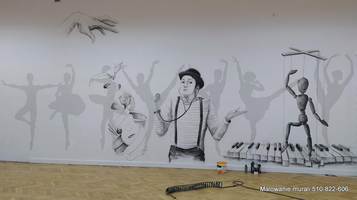 Mural na sali gimnastycznej